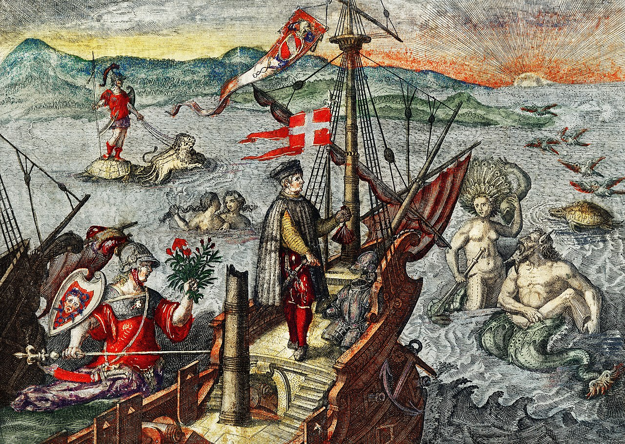 Amazing Maps: the Piri Reis World Map-Christopher_Columbus_Illustration_from_Grand_Voyages_by_Theodor_de_Bry
