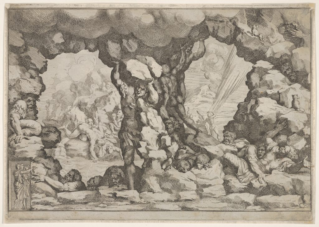"""Does history hide the past existence of giants?-Etching_from_the_series_""""Giove_fulmina_li_giganti"""